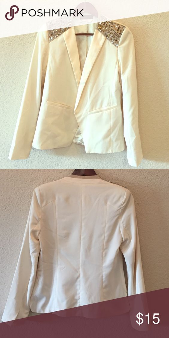 Statement blazer Ivory blazer with beaded shoulders. Light blazer that can be used summer or winter :) Jackets & Coats Blazers