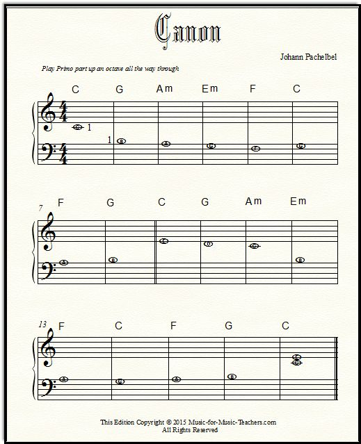 Pachelbel Canon Free Sheet Music For Beginner Piano With