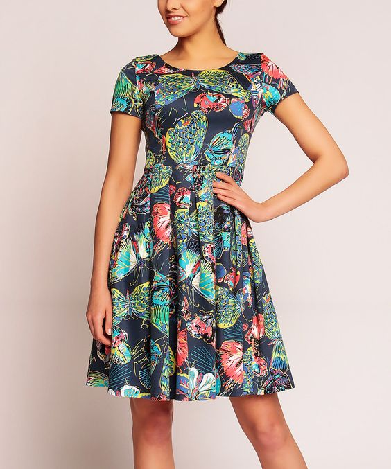 Another great find on #zulily! Karen Navy Butterflies Fit & Flare Dress by Karen #zulilyfinds