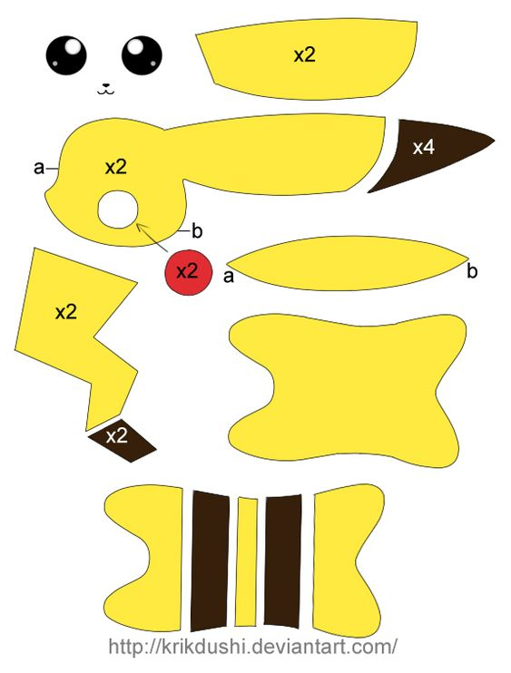 Molde o Plantilla de Pikachu para peluche de tela o fieltro