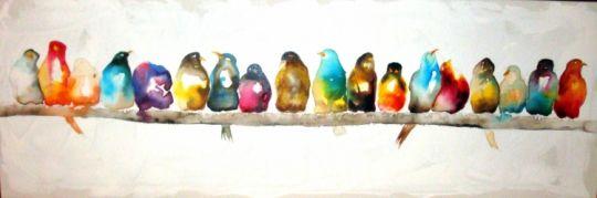tableau peinture oiseaux couleurs panoramique encre animaux encre de chine oiseaux art. Black Bedroom Furniture Sets. Home Design Ideas