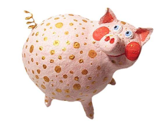 Glücksschweinchen - JanuarTraum, Glücksschwein, L ca 12cm, Pappmache - ein…