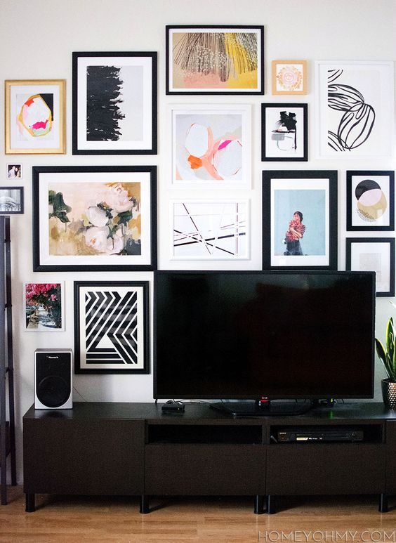 Art gallery wall around the TV- tips for choosing art, planning, and putting up a gallery: