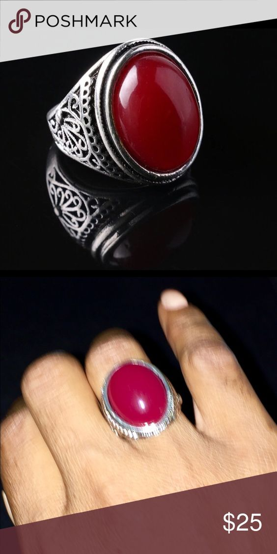 NWT. Stunning Red Ring. Antique style silver Red Ring. Jewelry Rings