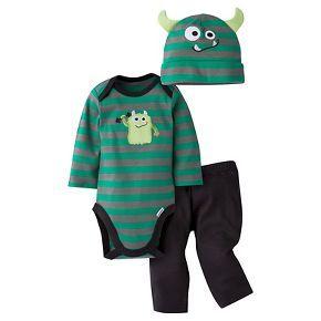 Gerber® Baby Boys' 3-Piece Long-Sleeve Onesie®, Pant & Cap -  Monster