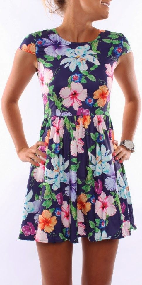Cute floral skater mini dress style:
