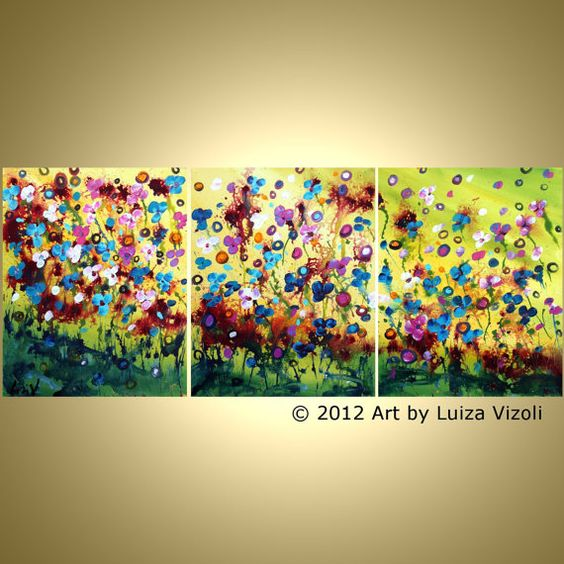 Original Abstract SPRING FLOWERS Painting Fantasy by LUIZAVIZOLI, $290.00