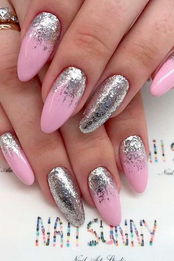 Silver And Pink Nails : silver, nails, Daily, Charm:, Designs, Perfect, Nails, Manicure,, Nails,, Ombre