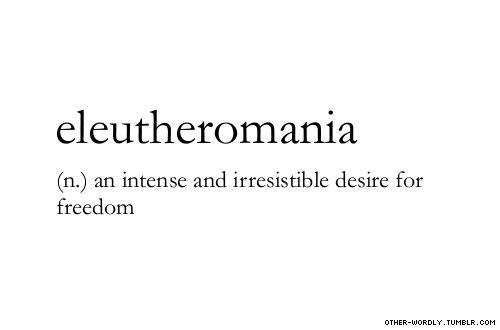 "pronunciation |  \el-U-""ther-O-'mAn-E-a\                                     #eleutheromania, noun, origin: greek, english, AMERICA, amurrica, freedom, free, words, otherwordly, other-wordly, definitions, E, lots of E words lately,"
