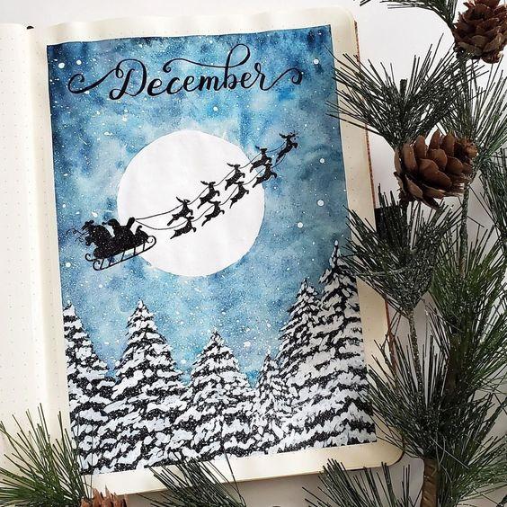 30 idées pour votre monthly cover de décembre - @dingbatsnotebook on instagram