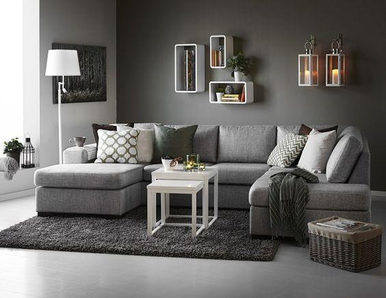 Nevada 3-sits soffa med divan och schäslong i tyg Rocco grey från - moderne wohnzimmer sofa