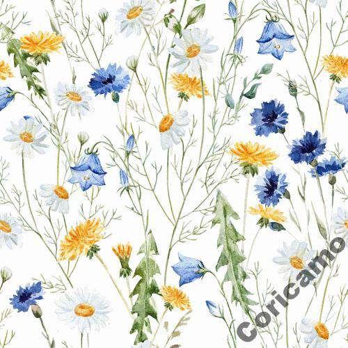Tkanina Bawelniana Satyna Polne Kwiaty Flower Painting Watercolor Flowers Hand Painted Flowers