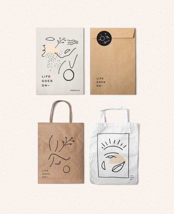 surface pattern design on branding and packaging. Inspired by modern art, these come in a minimalist graphic design with simple shapes and reduced look.