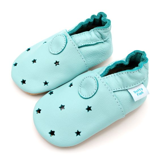 Mint Green With Cut out Stars – Dotty Fish Soft Leather Baby Shoes ...