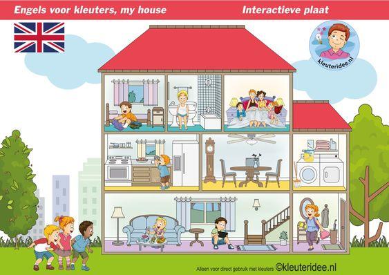 TOUCH this image: My house, Engels leren aan kleuters, kleuteridee.nl by juf Petra