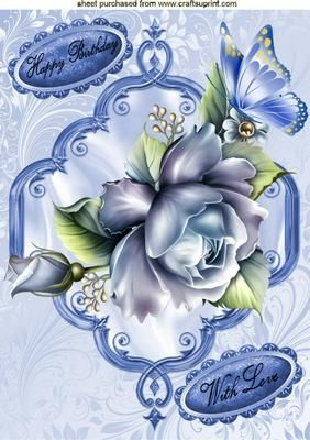 BLUE ROSES BLUE BUTTERFLY A4 on Craftsuprint - Add To Basket!: