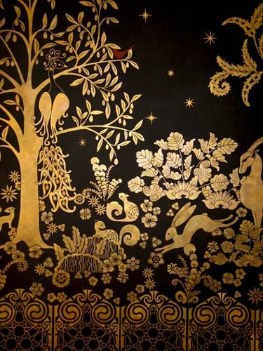 Wall treatment, gold and black