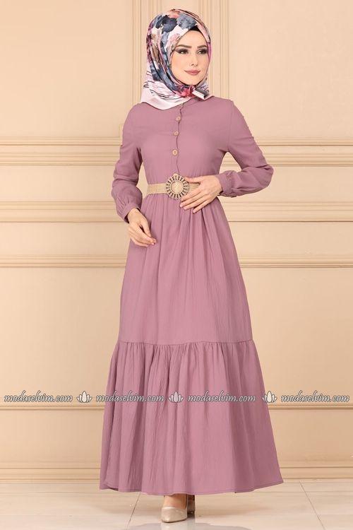 Modaselvim Elbise Hasir Kemerli Tesettur Elbise Ast3014 Gul Kurusu Moda Stilleri Moda Kiyafetler The Dress