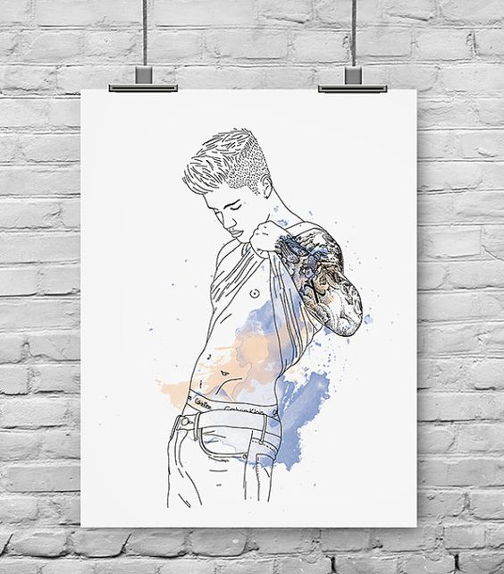 Poster Justin Bieber fille cadeau chambre par PepIllustration