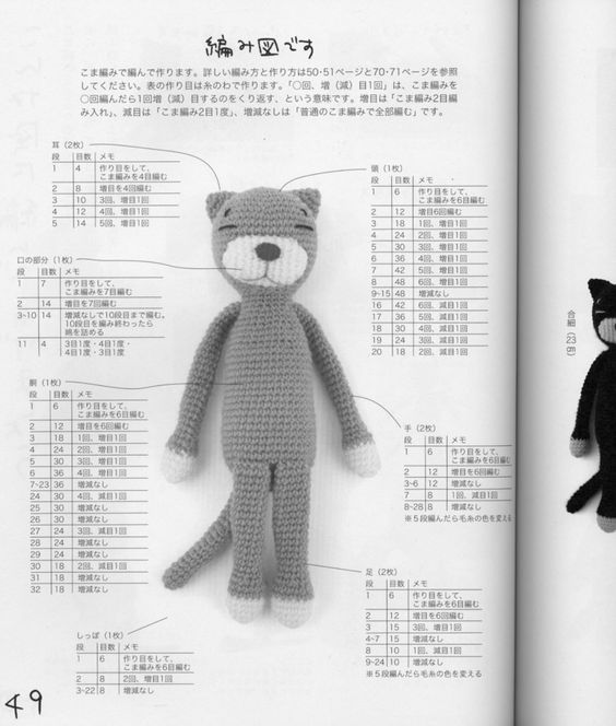 Amigurumi Japanese Patterns Free : Amigurumi Cat Free Japanese Pattern Gatos amigurumis ...