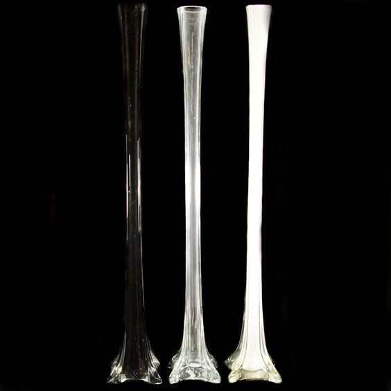28 Glass Eiffel Tower Vase in Clear, White,Black, Discount Wholesale Eiffel Vases and Supplies - Wholesale Flowers and Supplies