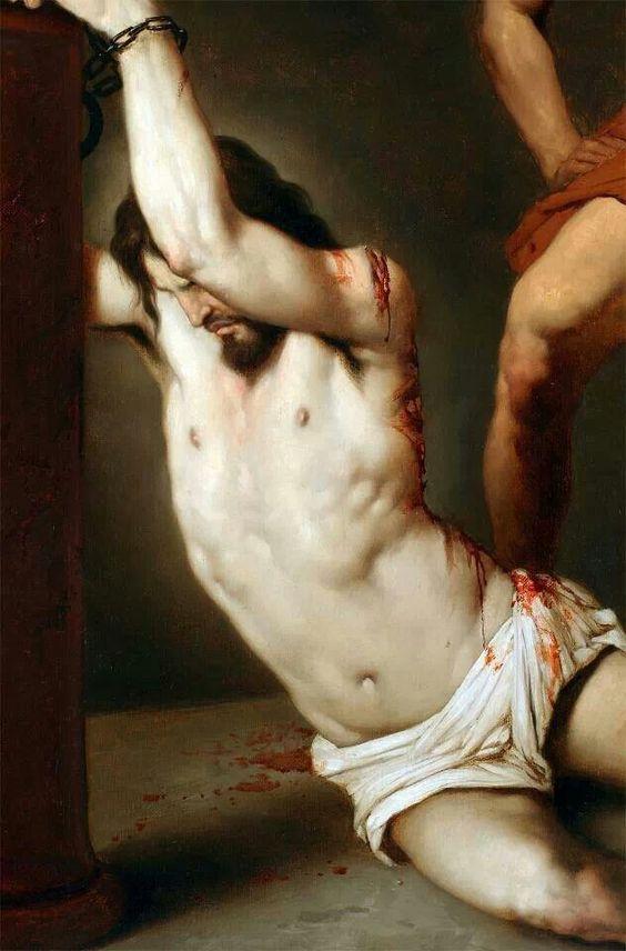 Paixão de Cristo - Jesus Flagelado, amarrado à coluna.