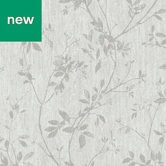 Goodhome Hirta Grey Floral Wallpaper Grey Floral Wallpaper Diy Wallpaper Tree Nature Wallpaper