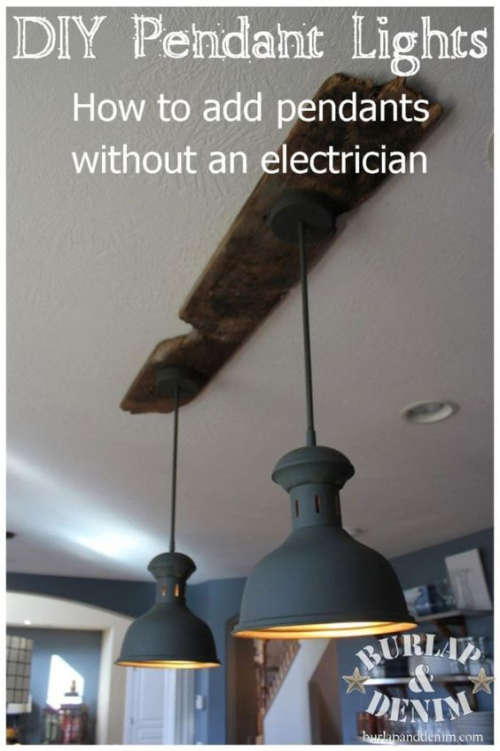 Reclaimed wood and upcycled brass pendant light fixture for Diy kitchen light fixtures