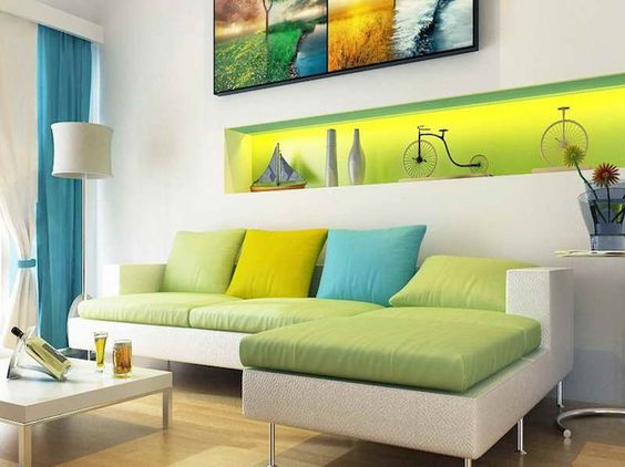 How to give a white living room a new look orange Yellow green living room