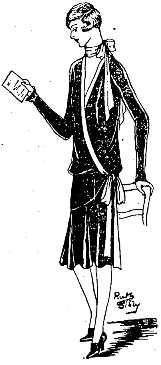 A graceful frock showing the new tied fastenings and scarf finish, made in fine black ring velvet and faint pink crepe de chine. (Evening Post, 12 March 1927)
