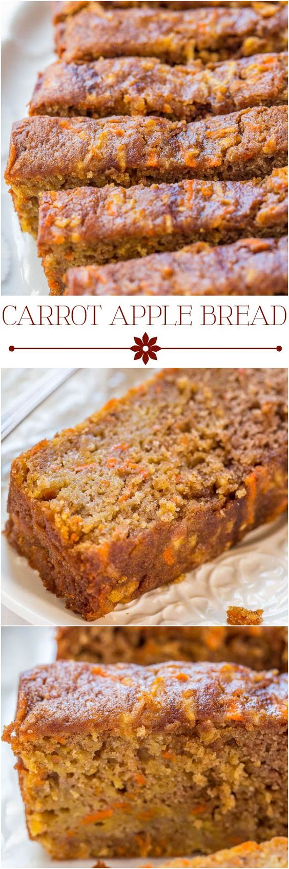Carrot Apple Bread Recipe via Averie Cooks - Carrot cake with apples added and baked as a bread, so it's healthier! Super moist, packed with flavor, fast and easy!! #dessertbreads #neighborgifts #homemadegifts #foodgifts #breadrecipes #flavoredbreads #sweetbreads #holidaybread #bread #homemadebread #simplebreadrecipes #simplebread #simplerecipes