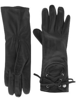 Laced leather gloves.
