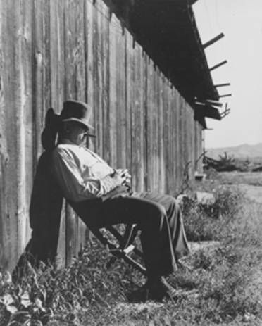 James Jeffries Description 	James Jeffries resting against his barn. In 1899, James Jeffries was the Heavyweight Champion of the World. Following retirement, Jeffries converted a barn into an an academy to train future boxers. Burbank Historical Society. San fernando Valley History Digital Library.