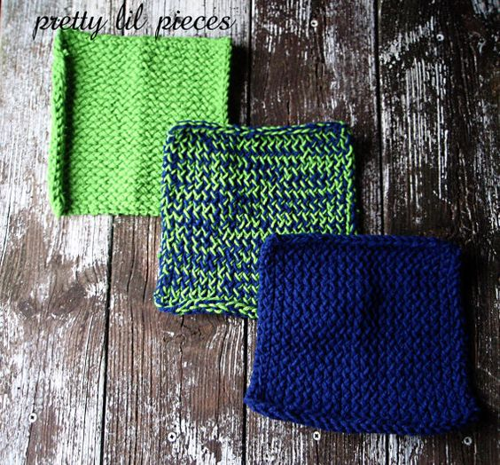 Dark blue and bright green wash clothes set of by prettylilpieces, $7.00