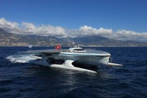 """""""Tunar Planet Solar"""" is anchored these days at the port of Zakinthos as part of its travel around the globe. With its 32m. width, its 15m length and its fins, fully covered with photovoltaic panels covering a surface of 500 sm, it is considered the biggest solar ship in the world."""