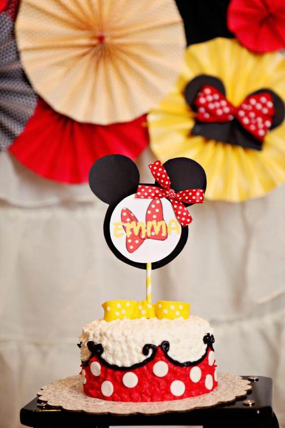 Minnie Mouse Birthday Cake Stick, Cake Smash, Yellow Polka Dot Red Birthday decorations