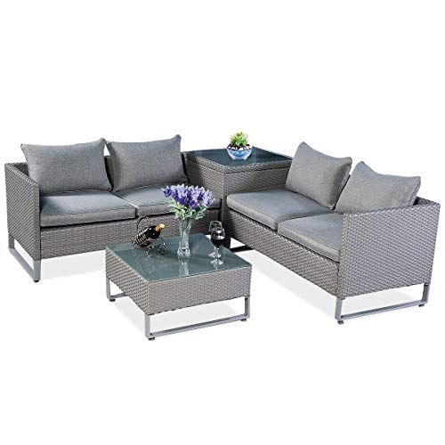 Tangkula Patio Furniture Set 4 Piece Outdoor Wicker Rattan Sectional Sofa Set With St Patio Furniture Cushions Furniture Sofa Set Outdoor Patio Furniture Sets 4 piece wicker patio set