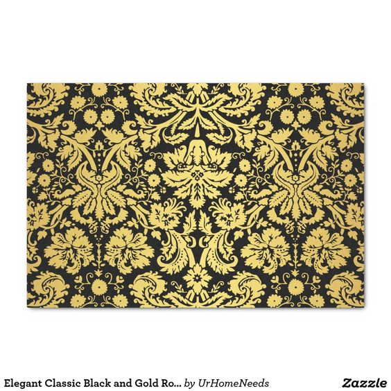 "Elegant Classic Black and Gold Royal Damask 10"" X 15"" Tissue Paper"