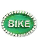 """Beaded Spacer, BIKE - Both sides of this .925 sterling silver spacer have a beaded rim and the word """"BIKE"""" embedded in green enamel.  Please note:  This item does not fit on braided leather bracelets or necklaces."""