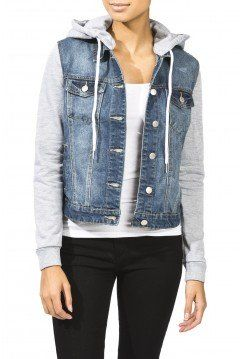 Fleece Sleeve Denim Jacket