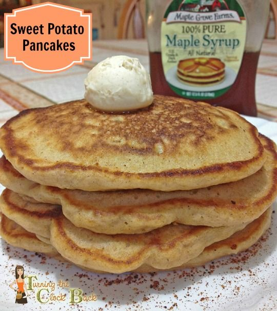 Have some sweet potatoes to use?  Try these sweet potato pancakes with Cinnamon Honey Butter for a healthy and hearty breakfast!