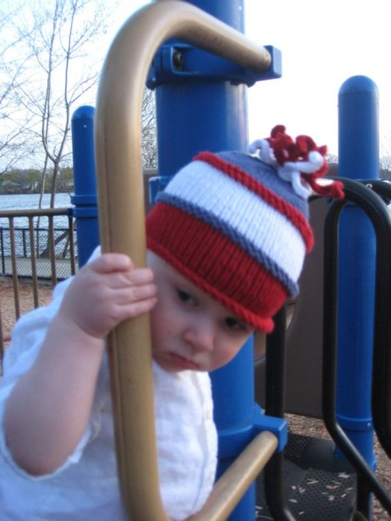Knitted Baby Hat  Squigglies on Top Red White Blue by UpNorthKnits, $30.00