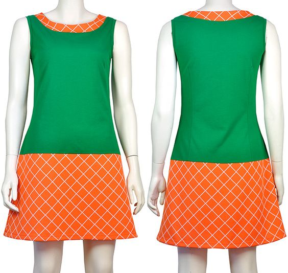 Jurkje Charlot, A lijn model. Groene tricot + jaren 60 oranje ruitjes trivera, Pop Rok