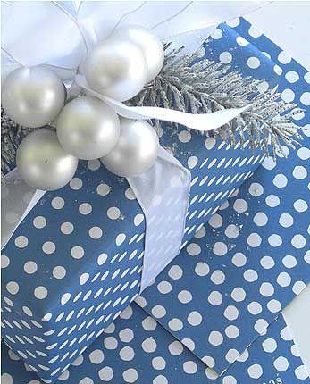 Blue w. polka dots.  Cute.