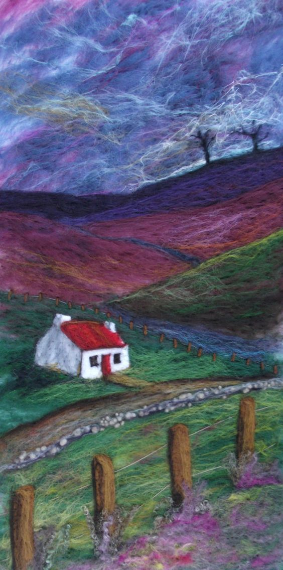 Purple Heather,  a needle felted painting of a Scottish landscape by needle felt artist Karen Price.