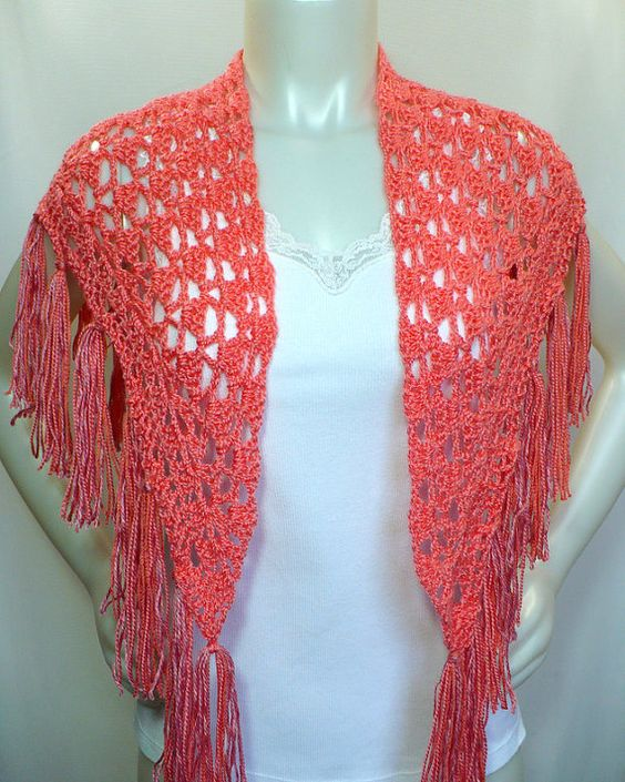 Crochet Triangle Scarf with fringe, Salmon Shawl by MarieAntoinknit for 9ElizabethStreet