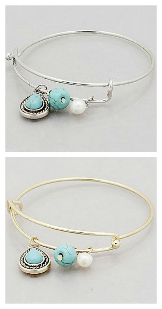 Turquoise Teardrop Bangle Bracelet FREE SHIPPING