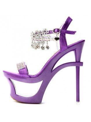 Purple High Heel Sandals With Rhinestone Embellishment