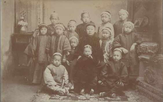 Children in traditional Chinese dress, California, 1886