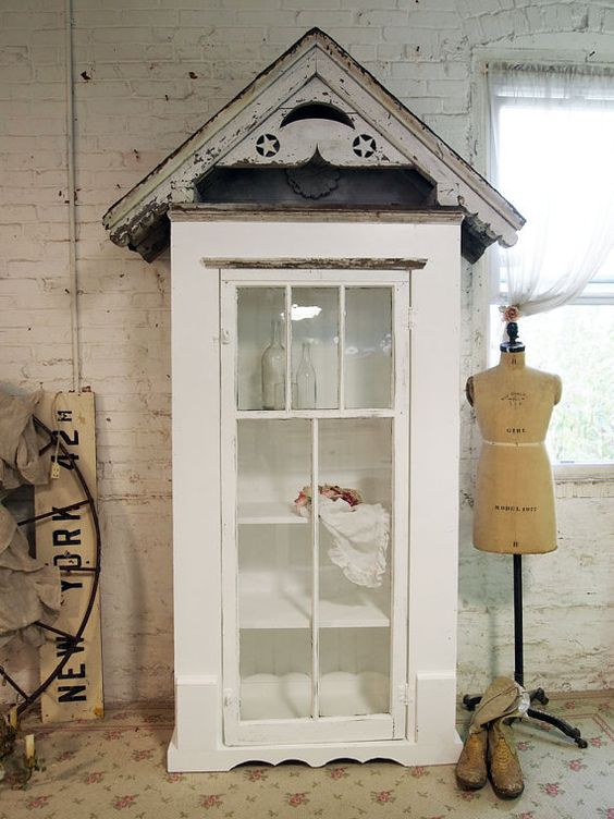 Painted Cottage Chic Shabby White Farmhouse by paintedcottages, $1295.00